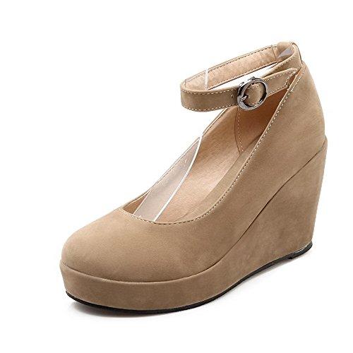 Unie Suédé Talon à Chaussures AgooLar Femme Légeres Couleur Haut Rond Boucle Abricot q8YYOwUT