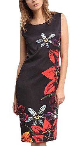 APART Fashion Damen Kleid 58978 Mehrfarbig (Schwarz-Multicolor)