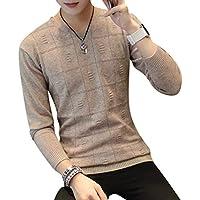 Byqny Hombre Delgado Suéter de Punto Escote en V Elegante Camisa Inferior Sweater Manga Larga