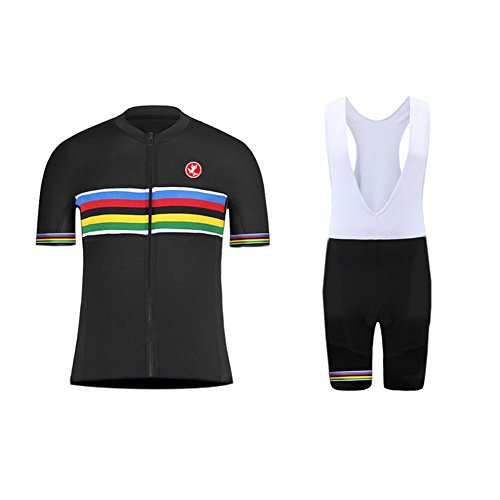Uglyfrog Erwachsene Herren Radtrikot Trikot Bike-T Full Zip Top+Trägerhosen Cycling Sets Bib Shorts with Gel Pad Sommer Anzüge (Cycling Bib Equipe)
