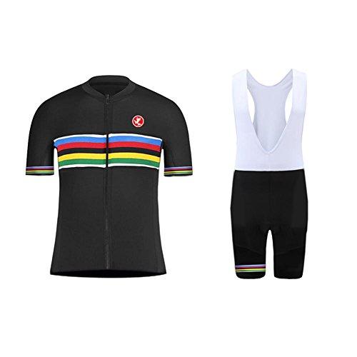 Equipe Cycling Bib Short (Uglyfrog Erwachsene Herren Radtrikot Trikot Bike-T Full Zip Top+Trägerhosen Cycling Sets Bib Shorts with gel Pad Sommer Anzüge)