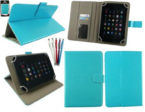 emartbuy Packung mit 5 Kugelschreiber 2 in1 Eingabestift +Universalbereich Türkis Folio Wallet Hülle Schutzhülle Cover mit Kartensteckplätze geeignet für I.onik TP - 1200QC 7.85 Inch Tablet