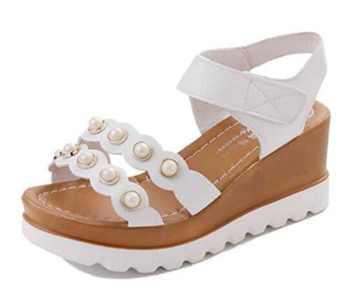 2017 nuova pendenza di base spessa di estate con i sandali esposti a toe piatta giù i pattini high-heeled 1