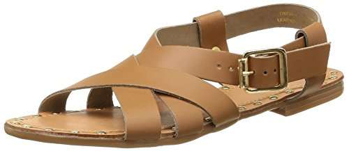 PIECESPSJIVA LEATHER SANDAL - Sandali alla schiava Donna , Marrone (Cognac), 42