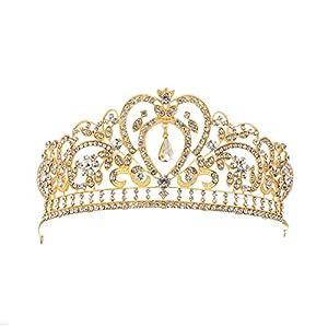 1 STÜCK Kristall Königin Krone Bridal Crown Stirnband Tiara Haarband for Hochzeit Party Retro Stil Kristalle Prinzessin Krone Strass Braut Tiara Festzug Prom Hochzeit Diadem Silber (Golden)