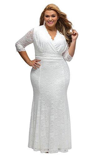 ILFtrend Spitze Elegante Halbarm Kleid Große Größen Partykleider Cocktail Maxikleid Weiß (XXXL)