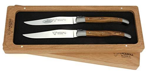 Laguiole en Aubrac - 2er Set original Laguiole Steakmesser aus Frankreich - Griffschalen Pistazien-Holz - Tafelmesser - Laguiole En Aubrac