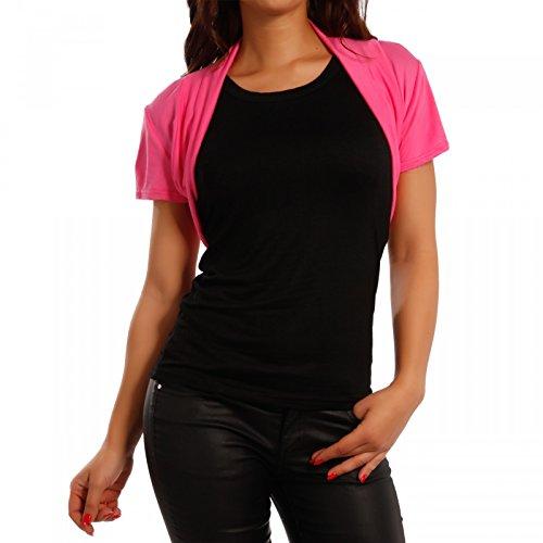 Damen Bolero Basic Shirtbolero Shirtjacke mit Stretch One Size , Farbe:Pink;Größe:One Size