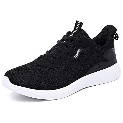 JIANKE Leichte Laufschuhe Herren Atmungsaktiv Turnschuhe Casual Sportschuhe Running Outdoor Sneakers(Schwarz,45)
