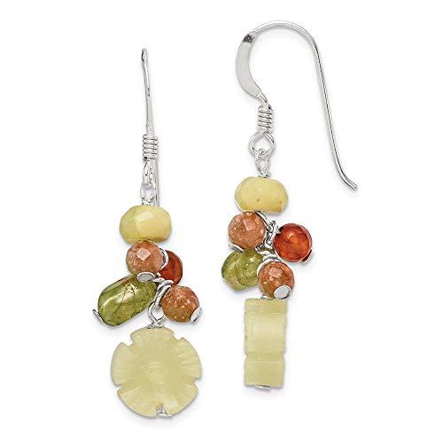 Sterling Silver Jade/Unikite/Peridot/Aventurine/Carnelian Earrings