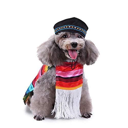 FOONEE Haustier Cosplay Kostüm, Halloween Weihnachten Cool Cute Funny Hund Haustier Kleidung Rainbow Robe mit Hut.