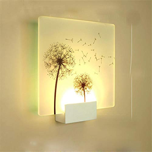 Home Bedroom Wall Lamp Bedside Lamp Hotel Modern Minimalist Living Room Interior Led Wall Painting Creative Aisle Decorative Wall Lamp@Square-Dandelion_White Light 5W