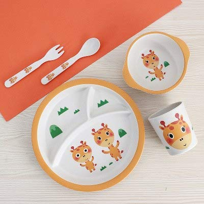 Ensemble de dîner d'apprentissage de fibre de bambou Ensemble de motif de girafe de bébé Bowl Cup Forks Spoon Feeding Table