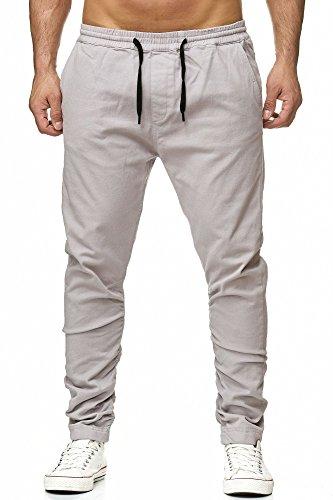 Reslad Chino-Hose Herren Jogg-Jeans Chino Freizeithose Jogginghose RS-2082 Grau M
