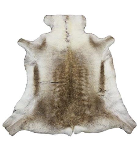 Zerimar tappeto pelle di renna premium | misure: 135x130 cms | tappeto moderno salotto | tappeto stanza da letto | tappeto nordico cameretta