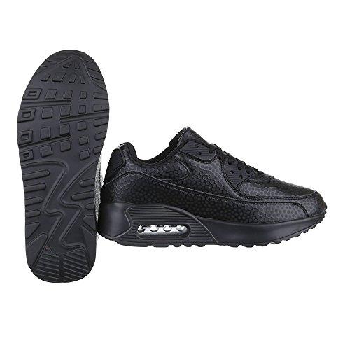 Ital-Design Low-Top Sneaker Damen Schuhe Low-Top Sneakers Schnürsenkel Freizeitschuhe Schwarz