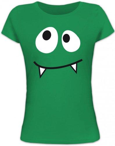 Shirtstreet24, MONSTER VAMPIRE, Karneval Fasching Kostüm Lady / Girlie T-Shirt Fun Shirt, Größe: XL,kelly green