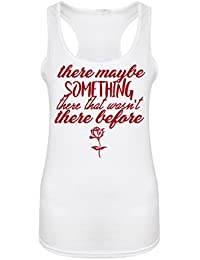There Maybe Something There That Wasn't There Before - White - Women's Racerback Vest - Fun Slogan Tank Top (X Large - UK Size 14-16, w/Red)