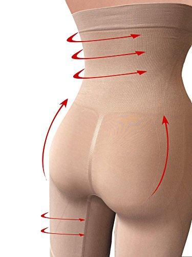 Nahtlose hohe Miederhose mit Bein G3006 �?formende und reduzierende Wirkung auf den Bauch- und Beineumfang, Kompressionszonen sorgen für einen Push-Up Effekt für den Po Beige