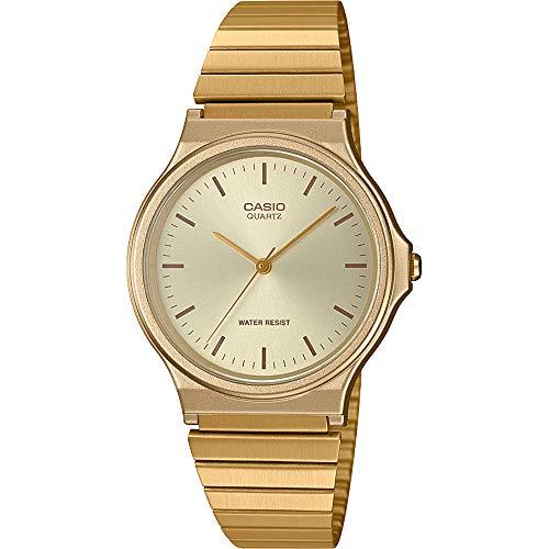 CASIO Unisex Erwachsene Analog Quarz Uhr mit Edelstahl Armband MQ-24G-9EEF - Gold Uhren Frauen Casio
