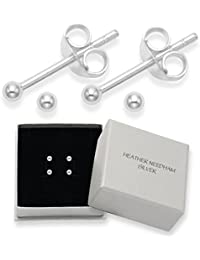 Heather Needham 2 PAIRS Sterling Silver Tiny 2mm ball studs - Size: 2mm. Gift Boxed Silver Ball studs. B41HN/5180x2