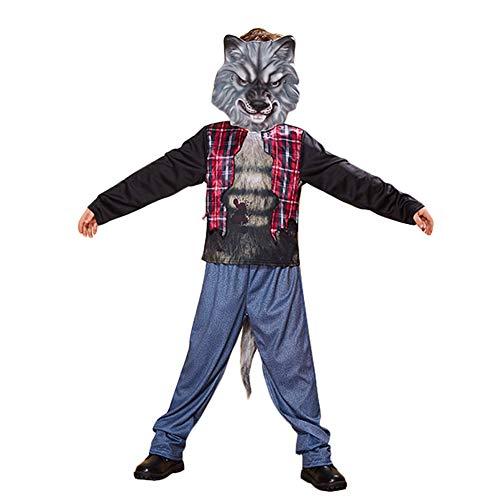 Party Kostüm Everyday's A - LJLis Deluxe Kinderkostüm Set Jungen Und Mädchen Werwolf Kostüm Maske Für Halloween Dress Up Party,S