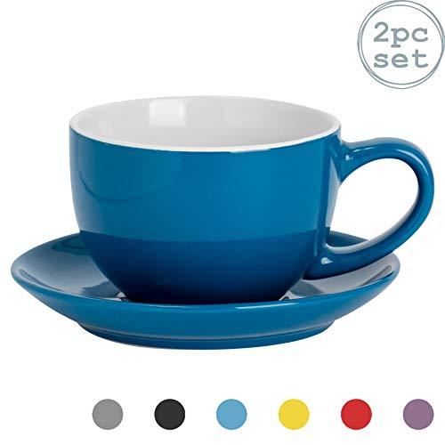 Argon Tableware 2 Stück Farbige Cappuccino Tasse und Untertasse Set - Modern Style Porzellan-Tee-und Kaffeetasse - Blau - 250ml