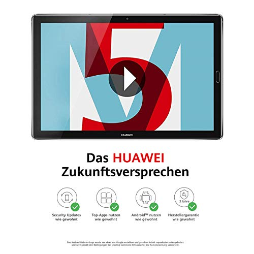 Huawei MediaPad M5 WiFi Tablet-PC 27,43 cm (10,8 Zoll), 2K-Display, Octa-Core Prozessor, 4 GB RAM, 32 GB interner Speicher, Android 8.0, EMUI 8.0, grau -