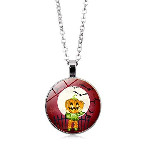 Blisfille Halloween Spukhaus Zeit Edelstein Halskette Anhänger Halskette Pullover Kette Damen Herren Geschenk