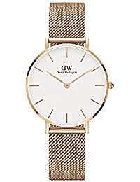 Daniel Wellington Analogue 32 mm Classic Petite Melrose White Dial Rose Gold Plated Mesh Women's and Men's Watch