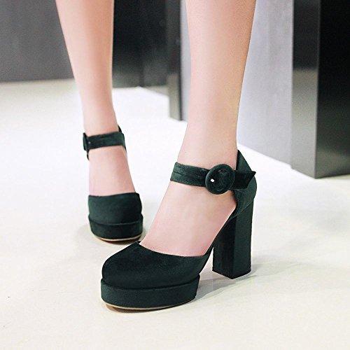 Mee Shoes Damen chunky heels Plateau Schnalle Pumps Dunkelgrün