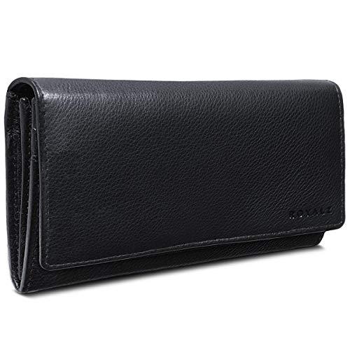 ROYALZ Damen Leder Portemonnaie groß schwarz mit RFID Schutz - Gelbörse 11 Kartenfächer...