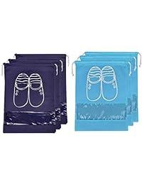 Lify Travel Shoe Bags, Portable Travel Shoe Tote Bags - Packing Organizers for Men and Women- Aqua Blue (3 Pcs) + Navy Blue (3 Pcs) - 6 Piece Pack