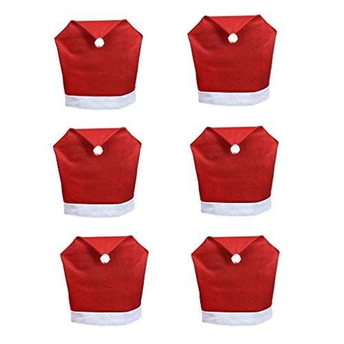 6er Set Weihnachtsdekorationen Partei Stuhlüberzug Hussen Rot Santa Hut Stuhlbezug 80g