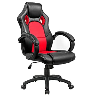 Gaming Stuhl Chair, Hoch Rücken Ergonomischer PU Leder Bürostuhl Racing Sportsitz Gaming Drehstuhl Computer Schreibtisch Sportsitz Gaming schreibtischstuhl High Back Büro Chefsessel Kunstleder (ROT)