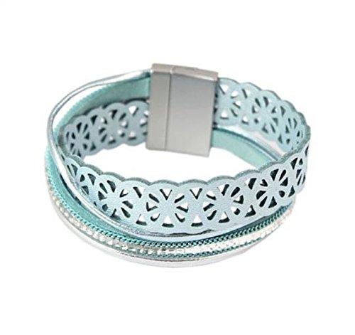 exkl. Magnet Leder Armband 4-reihig Kristalle mint-metallic
