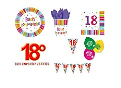 Idea Regalo - Chance SAS IRPot - Kit 48 PZ. Coordinato Compleanno 18 Anni + Festone BANDIERINE Palloncini Auguri