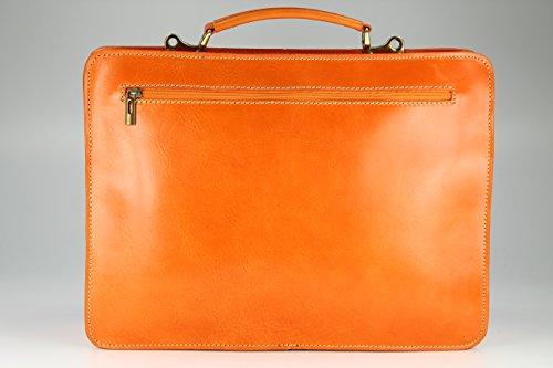 """BELLI """"Design Bag Verona"""" ital. Leder Businesstasche Arbeitstasche Messenger Aktentasche Lehrertasche Laptoptasche unisex - Farbauswahl - 39x29x11 cm (B x H x T) Orange"""