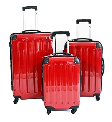 3 teiliges oder Einzeln M L XL Polycarbonat / ABS Trolley Koffer Bordcase Set Hartschale Reisekoffer Kofferset 4 Rollen (L, Rot)