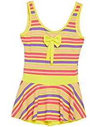CAMEY Girls Printed One-Piece Swimsuit Ruffle Skirt Swimwear Bathing Suit Cloth with Padded (SCG-03_Yellow)