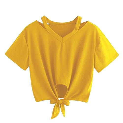 KIMODO T Shirt Damen Locker Einfarbig Sommer Kurzarm Bluse Lässig Top mit V-Ausschnitt Bogen-Knoten-Verband Oberteile Shirt Mode ()