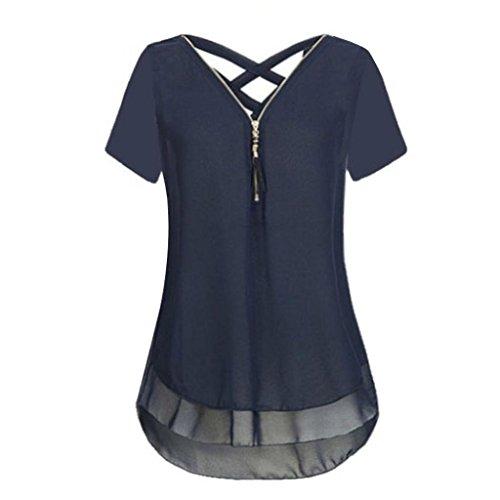 JURTEE Womens Sommer Lose Chiffon Kurzarm Tank V-Ausschnitt Reißverschluss zurück Kreuz Hem Scoop T Shirts Tops Bluse(Marine,XL