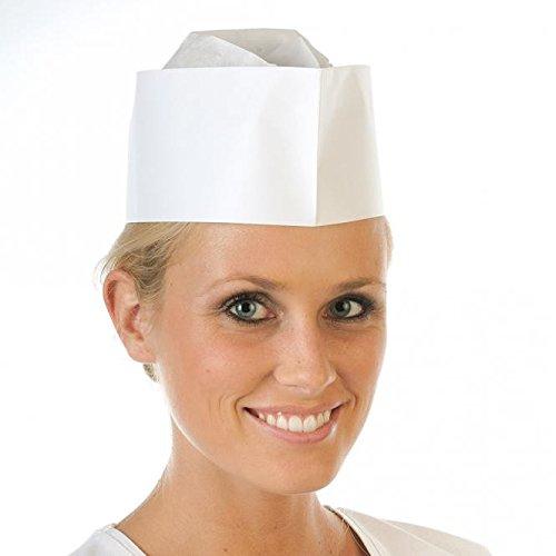 Papier-Schiffchen-Mützen, Küchenhauben, Einweg-Schiffchen-Mützen, Service-Schiffchen, Kochschiffchen, Farbe:weiß (Matrosen Hut Papier)
