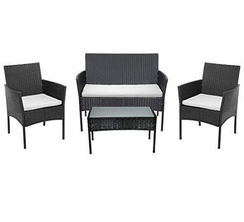 Beneffito Conjunto Muebles de jardín Tulum en Resina Trenzada Negro - 4 plazas, 2 sillones, 1 Mesa Baja, 1 Banco - con Cojines de Asiento Beige con Cremallera