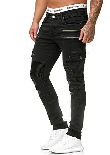 OneRedox Herren Jeans Denim Slim Fit Used Design Modell 5161 Schwarz 36/32