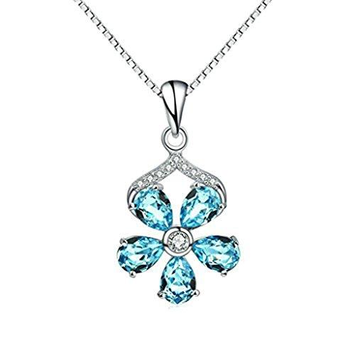 Cut Swag (Beydodo Sterling Silber Halskette(Anhänger-Halsketten)Für Damen CZ Zirconia Birne Cut Träne Blume Bräute Schmuck)