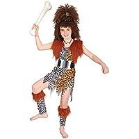Disfraz de niña de Cavernícola con Peluca. 3 - 5 años