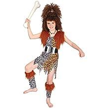 Disfraz de niña de Cavernícola con Peluca. 6 - 9 años
