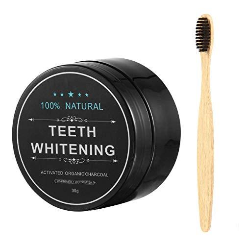 Kobwa Aktivkohle Zahnweiß-Pulver (30g) und Zahnbürste Zahnweiß-Kit - Beseitigt Schlechten Atem, Verhindert Karies, Entfernt Rauch und Kaffeeflecken - Bambus-pulver