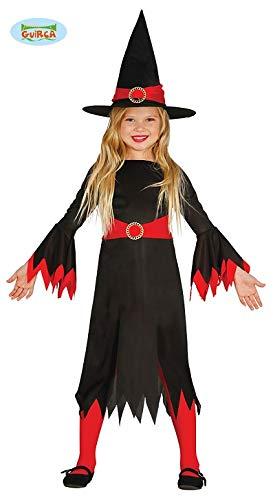Langes Hexen Kleid für Mädchen Halloween Kostüm Kinder Schwarz Rot Hexenkleid Hexenkostüm Gr. M - L, Größe:122/128 (Rote Kostüm Halloween Hexe)